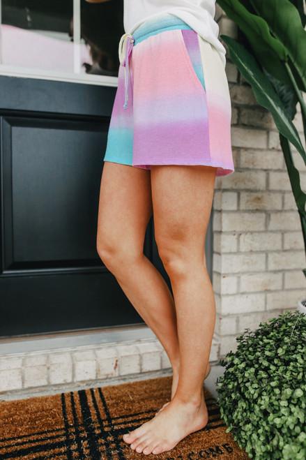Drawstring Tie Dye Thermal Lounge Shorts