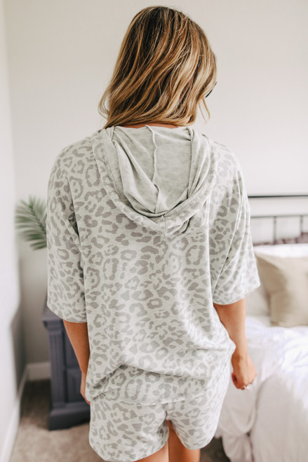 Short Sleeve Grey Leopard Hoodie