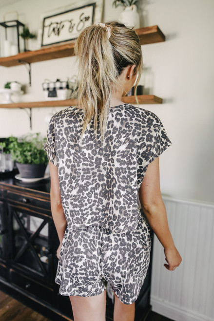 French Terry Short Sleeve Leopard Pullover