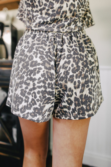 French Terry Leopard Shorts