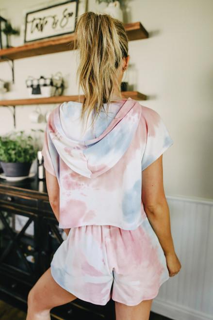 Sunset Short Sleeve Tie Dye Hoodie