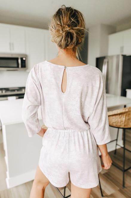 3/4 Sleeve Lavender Tie Dye Romper