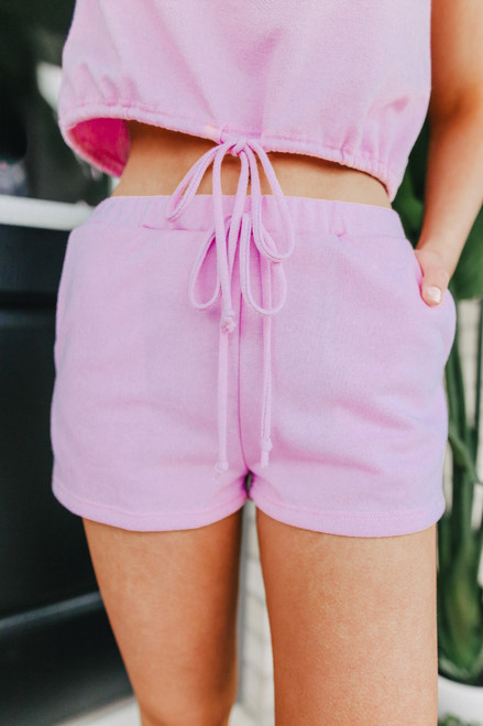 Drawstring French Terry Lavender Shorts