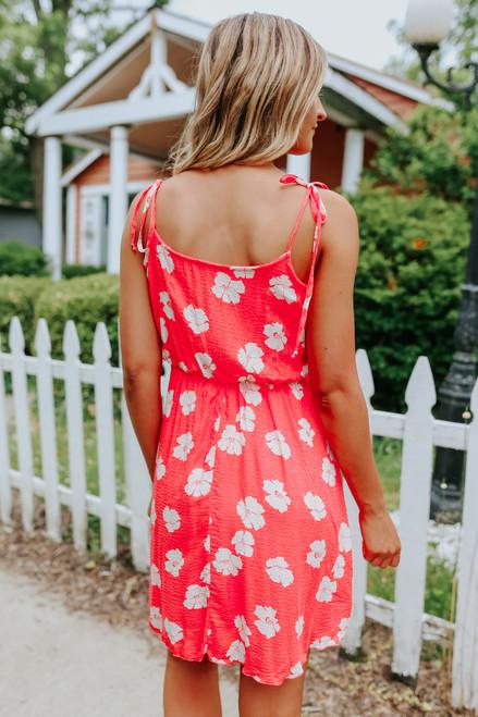 Tie Strap Neon Coral Floral Dress
