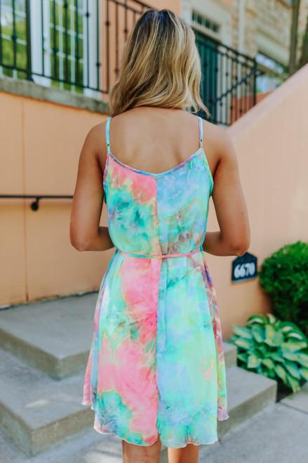 Beach Party Tie Dye Tie Waist Dress