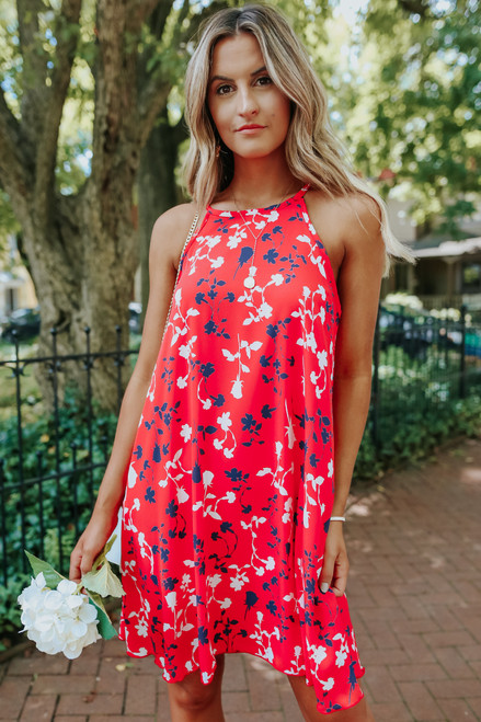 Halter Neck Red Floral Dress
