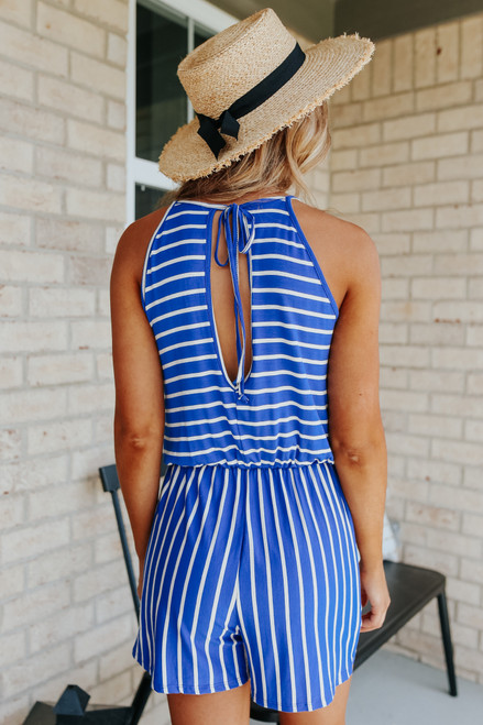 Open Back Blue Striped Romper