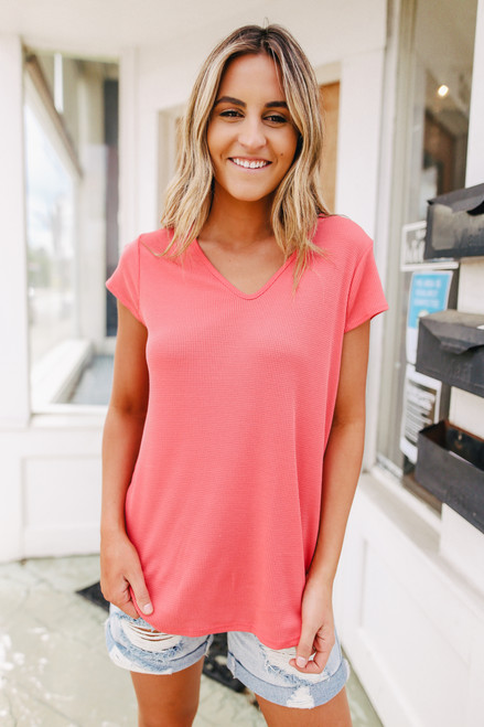 V-Neck Coral Waffle Knit Tee