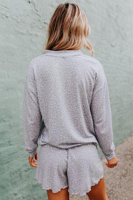 Drawstring  Hem Grey Leopard Pullover