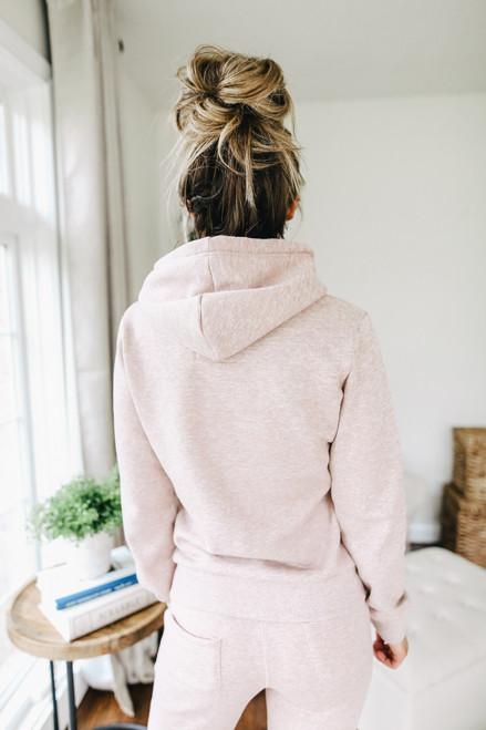 Drawstring Pink Fleece Hoodie
