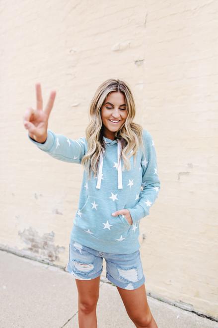 Lucky Star Heather Blue Fleece Hoodie