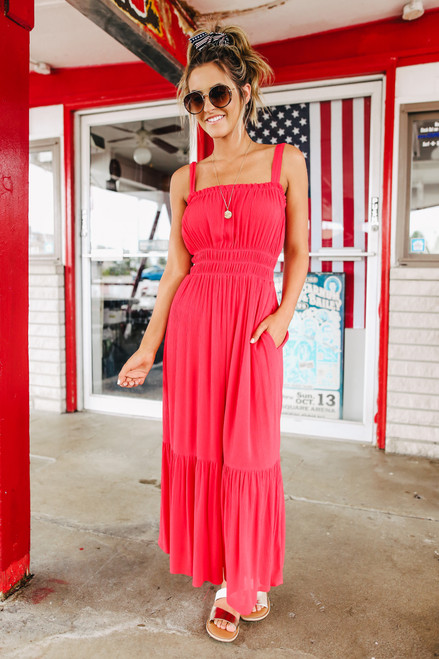 Square Neck Smocked Waist Red Maxi