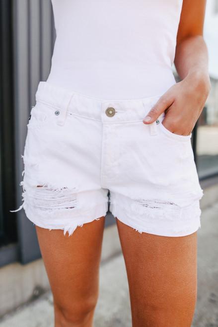 Sundown White Distressed Shorts