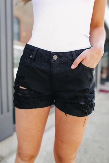 Sundown Black Distressed Shorts