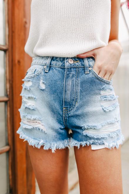 Double Rainbow Medium Wash Distressed Shorts