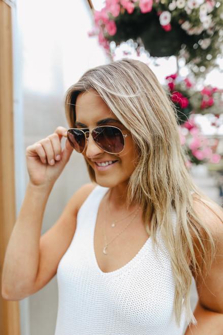 Tyndall Gold/Brown Aviator Sunglasses