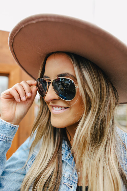 Tyndall Gold/Green Aviator Sunglasses