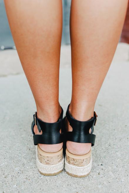 Hampton Bay Espadrille Black Platform Sandals
