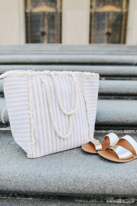 Beach Day Beige Striped Frayed Tote
