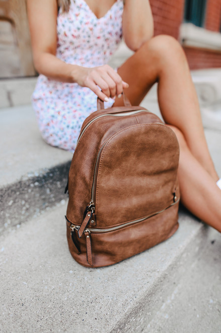 Bay Area Tripe Chestnut Vegan Leather Backpack
