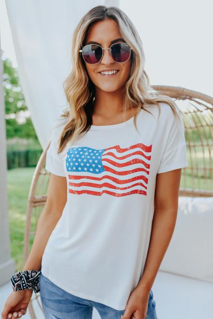 American Flag Ivory Tee