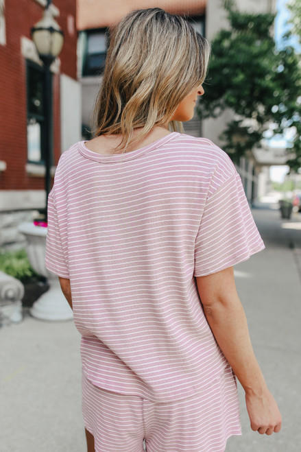 Short Sleeve Mauve Striped Pullover