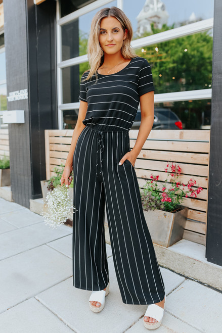Short Sleeve Black Striped Jumpsuit