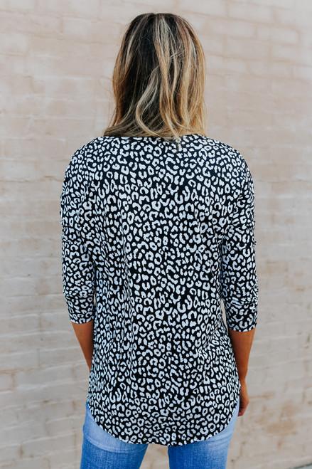 V-Neck Black Leopard Twisted Hem Blouse