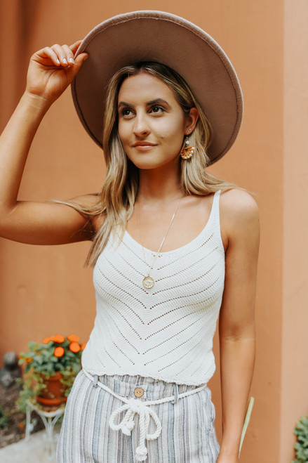 Scoop Neck Ivory Pointelle Tank