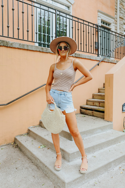 Scoop Neck Taupe Pointelle Tank