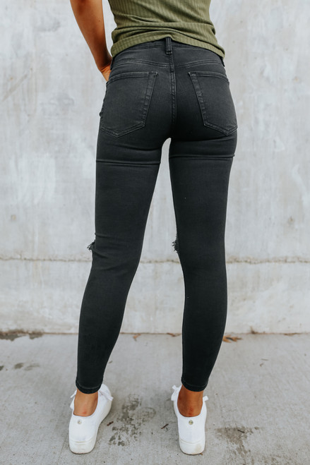 Free People Busted Washed Black Skinny Jeans