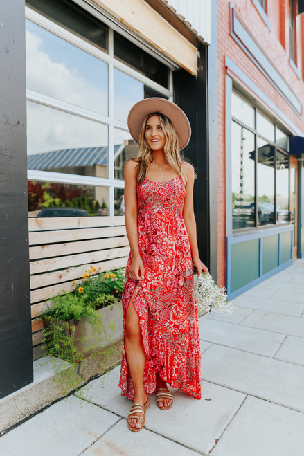 Free People Forever Yours Red Smocked Slip