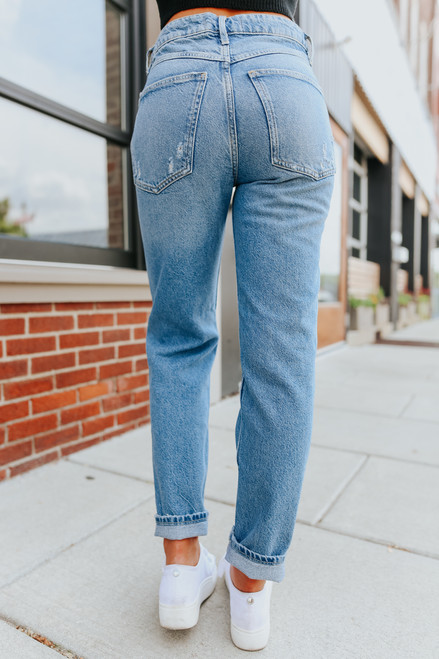 Free People Fast Times Mirage Blue Mom Jeans