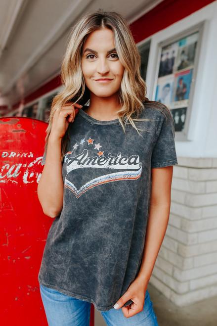 America Vintage Wash Charcoal Tee