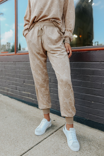 Star Crossed Taupe Jacquard Joggers