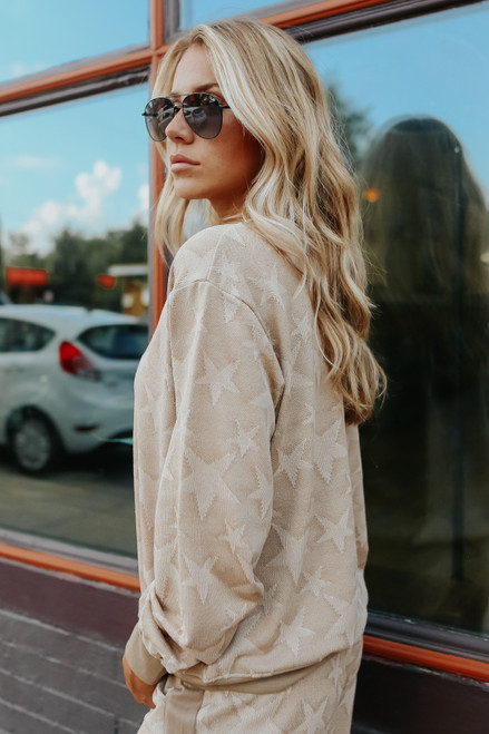 Star Crossed Taupe Jacquard Pullover