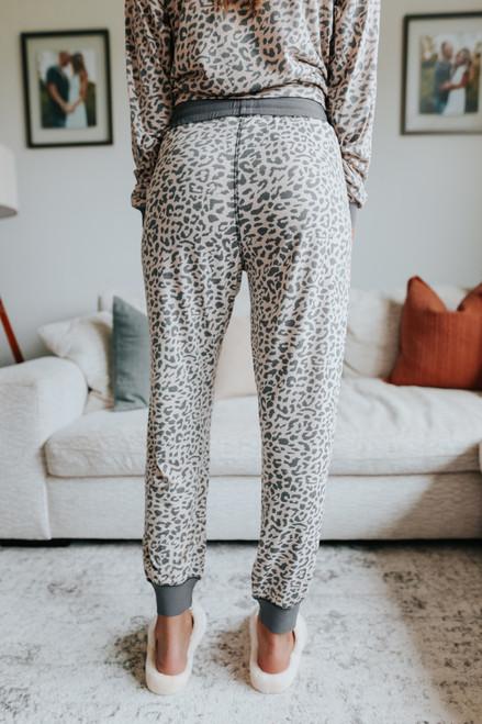 Drawstring Contrast Leopard Joggers