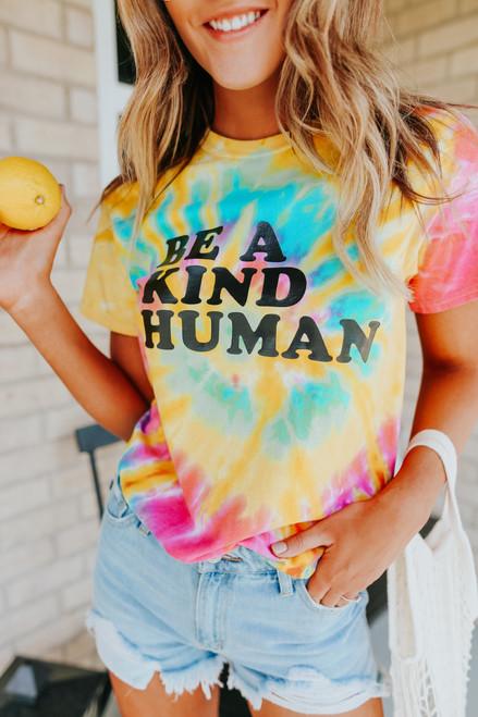 Be a Kind Human Tie Dye Tee