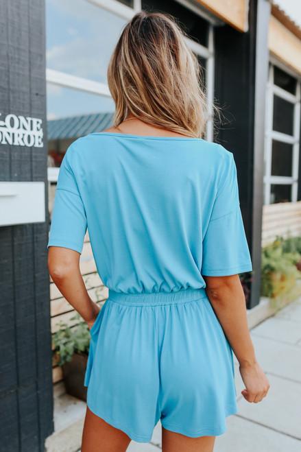 Short Sleeve V-Neck Ocean Blue Romper