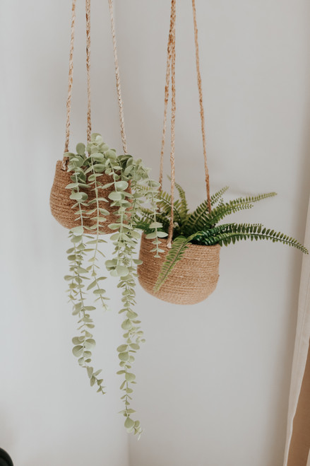Hanging Tan Jute Planter Set