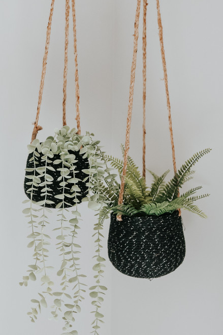 Two Tone Hanging Jute Planter Set