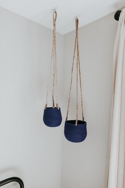 Hanging Navy Jute Planter Set