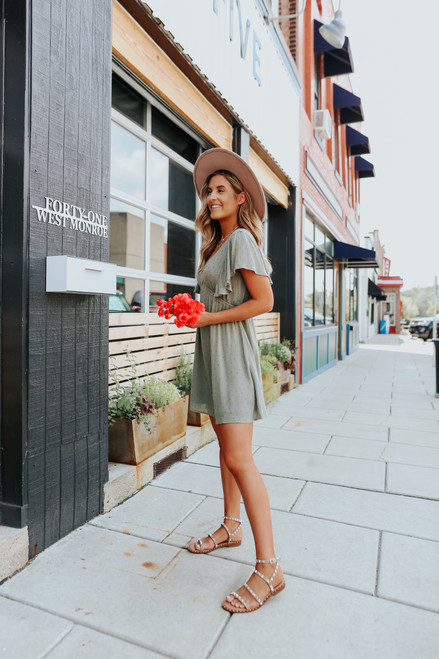 V-Neck Olive Dotted Empire Dress