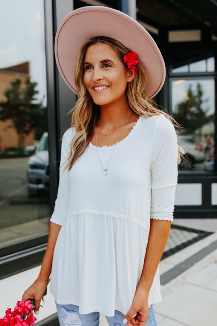 Bella White Babydoll Top - PRE-ORDER (SHIPS 8/3)