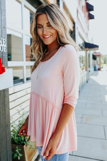 Bella Pink Babydoll Top - PRE-ORDER (SHIPS 8/3)