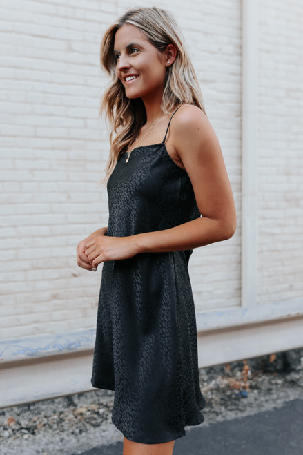 Wild One Black Leopard Satin Dress