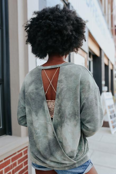 Open Back Olive Tie Dye Pullover - FINAL SALE