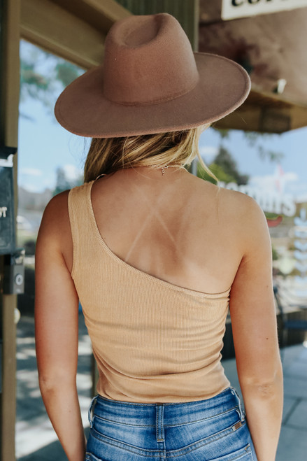 One Shoulder Camel Ribbed Suede Bodysuit