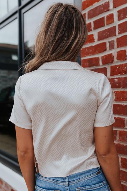 Button Down Champagne Printed Satin Shirt