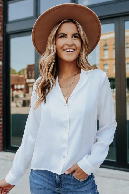 Button Down White Satin Shirt